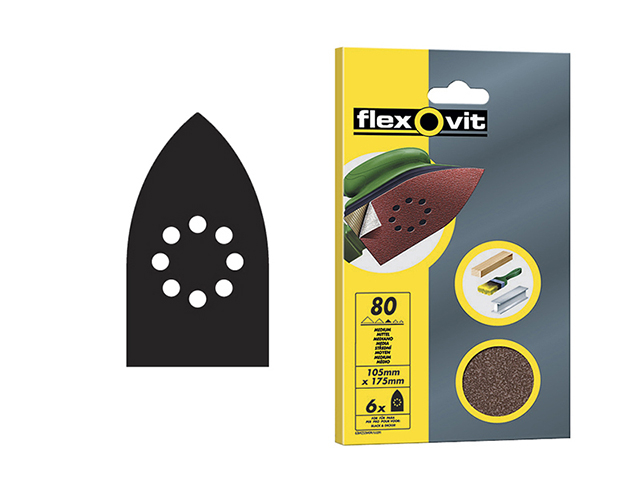 Flexovit Detail Hook & Loop Sanding Sheets 105x175mm Medium 80G (Pack 6) FLV26404