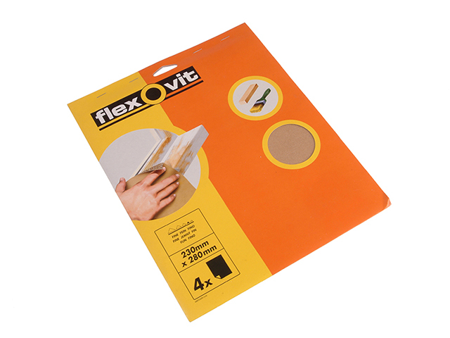 Flexovit Glasspaper Sanding Sheets 230 x 280mm Medium 80G (15) FLV26538