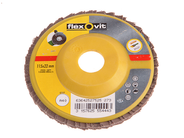 Flexovit Flap Disc For Angle Grinders 115mm 40g FLV27525