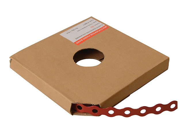 ForgeFix Red Plastic Coated Pre-Galvanised Band 12mm x 0.8 x 10m Box 1 FORPCBR12
