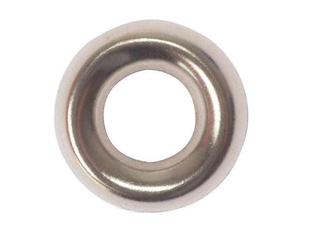 ForgeFix Screw Cup Washers Solid Brass Nickel Plated No.8 Bag 200 FORSCW8NM