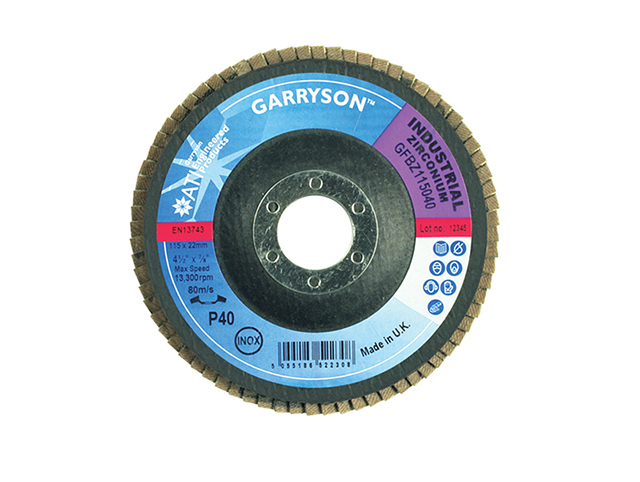 Garryson Industrial Zirconium Flap Disc 127 x 22mm - 60 grit Medium GARFD12760Z