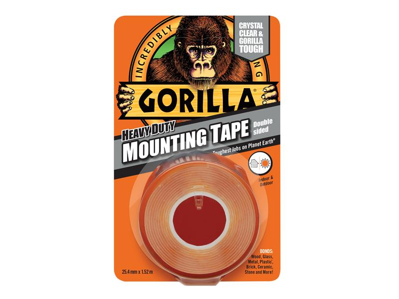 Gorilla Glue Gorilla Heavy-Duty Double Sided Clear Mounting Tape 25.4mm x 1.52m GRGGTHDDSMT
