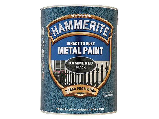 Hammerite Direct to Rust Hammered Finish Metal Paint Black 5 Litre HMMHFBL5L