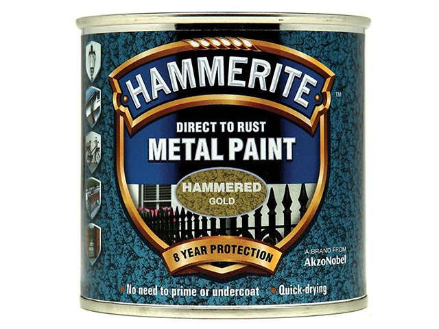 Hammerite Direct to Rust Hammered Finish Metal Paint Gold 250ml HMMHFGO250