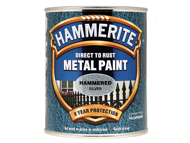 Hammerite Direct to Rust Hammered Finish Metal Paint Silver 750ml HMMHFS750