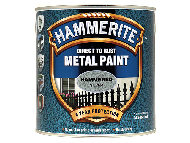 Hammerite Direct to Rust Hammered Finish Metal Paint Silver 2.5 Litre HMMHFSG25L