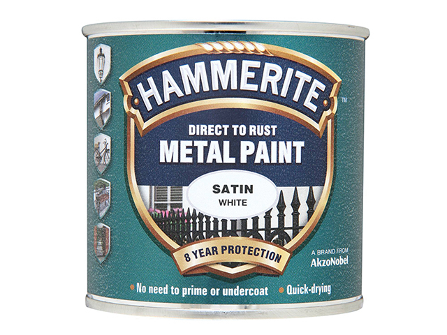 Hammerite Direct to Rust Satin Finish Metal Paint White 250ml HMMSAFW250