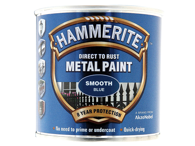 Hammerite Direct to Rust Smooth Finish Metal Paint Blue 250ml HMMSFB250