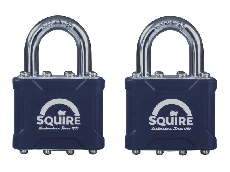 Henry Squire 35T Stronglock Card (2) Padlocks 38mm Open Shackle Keyed HSQ35T