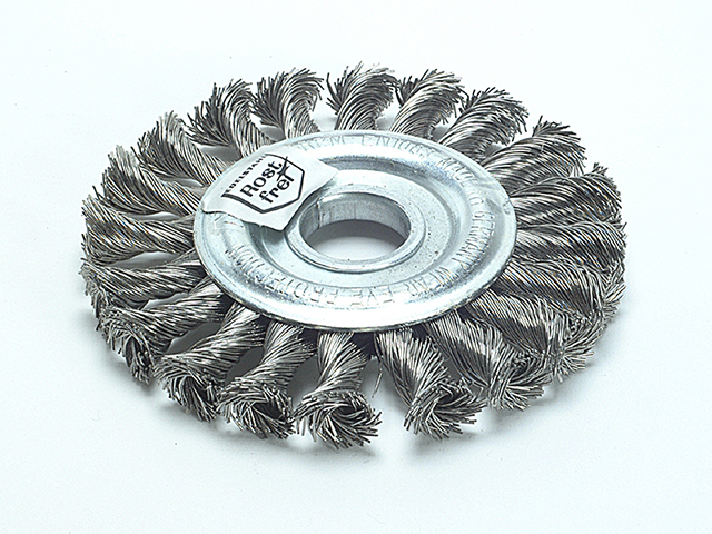 Lessmann Knot Wheel Brush 100 x 12mm M14 Bore Steel Wire 0.50 LES471217