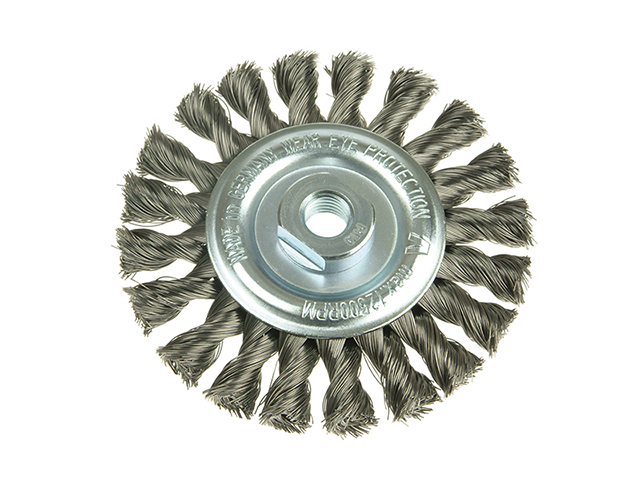 Lessmann Knot Wheel Brush 115 x 14mm 22.2mm Bore Stainless Steel Wire LES472811