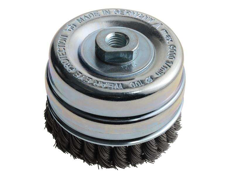Lessmann Knot Cup Brush 100mm M14 x 0.50 Steel Wire* LES486217