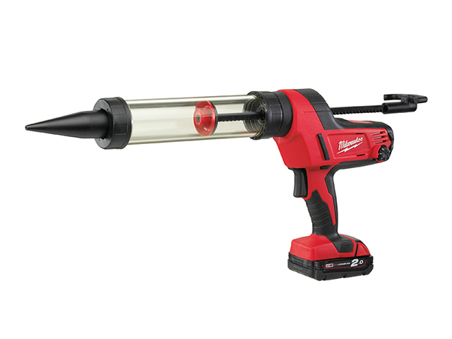 Milwaukee Power Tools C18 PCG/400T Transparent Tube Caulking Gun 400ml 18V 1 x 2.0Ah Li-Ion MILC18CG