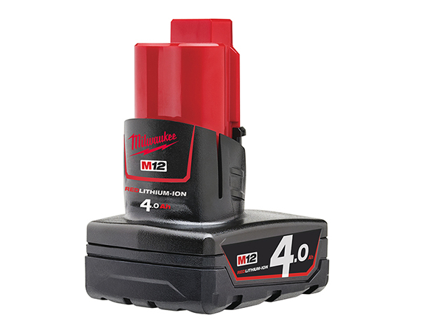 Milwaukee Power Tools M12 B4 REDLITHIUM-ION<sup>(TM)</sup> Battery 12V 4.0Ah Li-ion MILM12B4