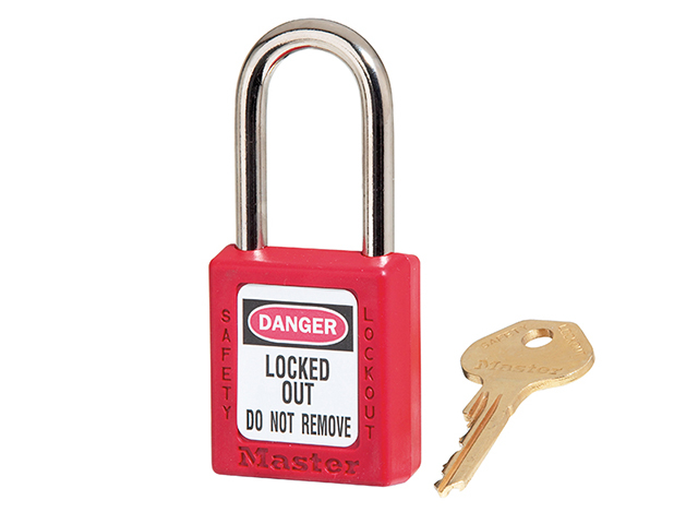 Master Lock Lockout Padlock - 38mm Body & 6mm Hardened Steel Shackle MLKS410RED