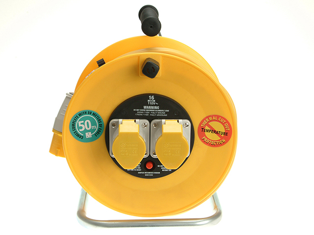 Masterplug Cable Reel 50m 16A 110V Thermal Cut-Out MSTLVCT50162