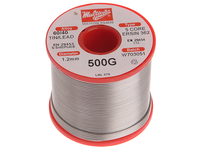 Multicore WK618 60/40 Solder 1.2mm Diameter 0.5k Reel MULD618