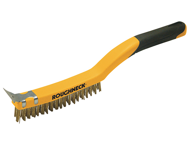 Roughneck Carbon Steel Wire Brush Soft Grip with Scraper 355mm (14in) - 3 Row ROU52030