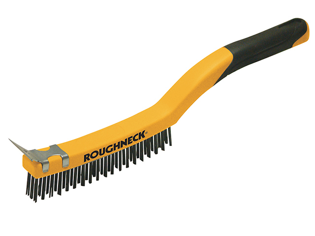 Roughneck Stainless Steel Wire Brush Soft Grip with Scraper 355mm (14in) - 3 Row ROU52032