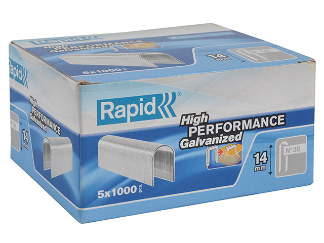 Rapid 36/14 14mm DP x 5m Galvanised Staples Box 5 x 1000 RPD3614G