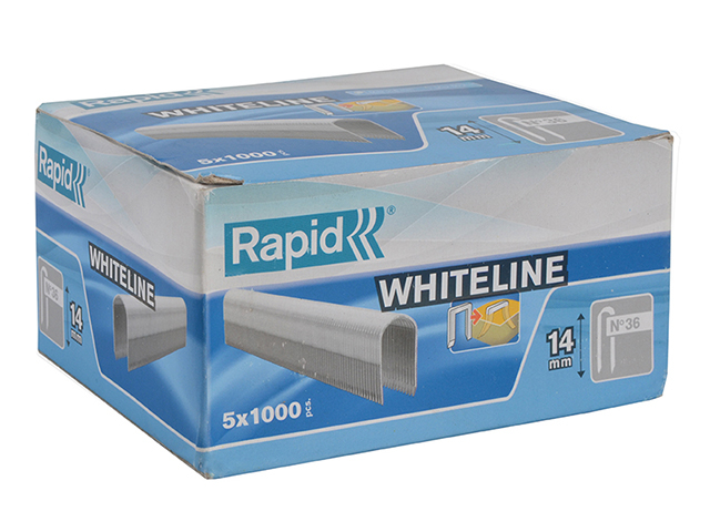 Rapid 36/14 14mm DP x 5m White Staples Box 5 x 1000 RPD3614W