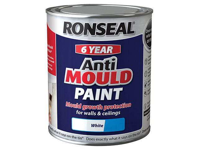 Ronseal 6 Year Anti Mould Paint White Silk 750ml RSLAMPWS750