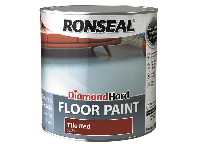 Ronseal Diamond Hard Floor Paint Tile Red 2.5 Litre RSLDHFPTR25L
