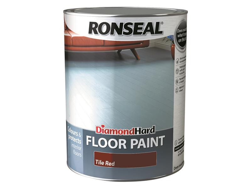 Ronseal Diamond Hard Floor Paint Tile Red 5 Litre RSLDHFPTR5L