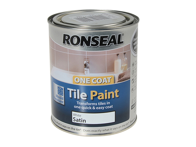 Ronseal One Coat Tile Paint White Satin 750ml RSLTPWS750