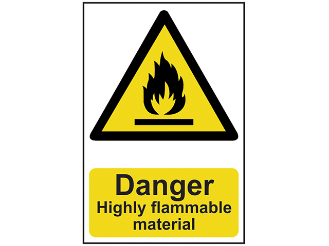 Scan Danger Highly Flammable Material - PVC 200 x 300mm SCA0901