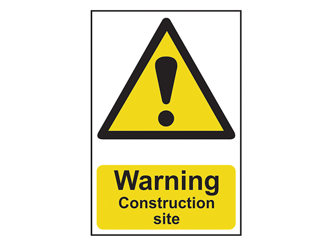 Scan Warning Construction Site - PVC 200 x 300mm SCA0958