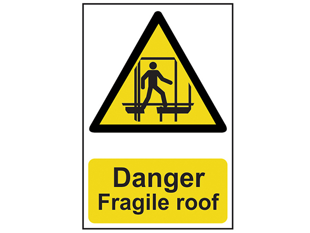 Scan Danger Fragile Roof - PVC 200 x 300mm SCA1104