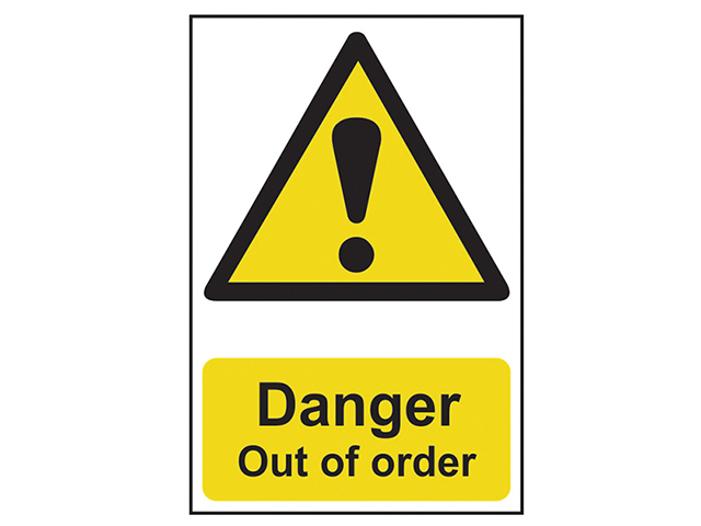 Scan Danger Out Of Order - PVC 200 x 300mm SCA1302