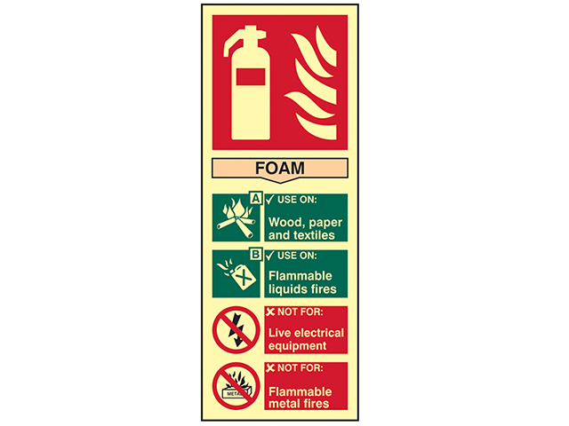 Scan Fire Extinguisher Composite Foam - Photoluminescent 75 x 200mm SCA1591