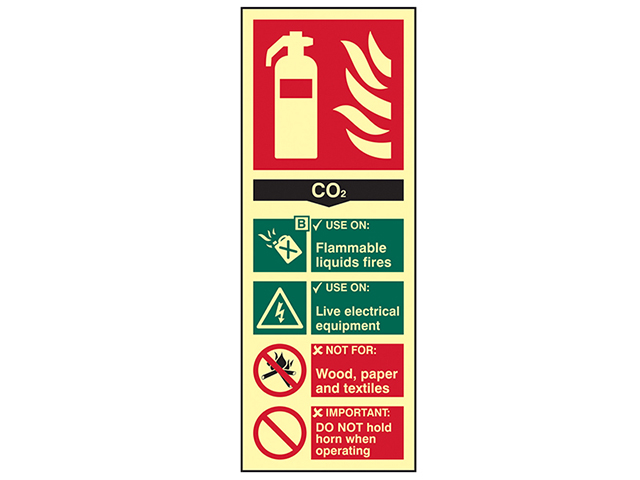 Scan Fire Extinguisher Composite CO2 - Photoluminescent 75 x 200mm SCA1592