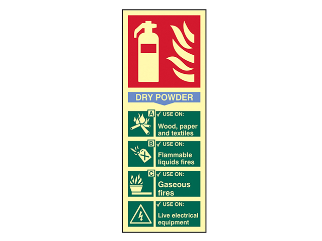 Scan Fire Extinguisher Composite - Dry Powder - Photoluminescent 75 x 200mm SCA1593