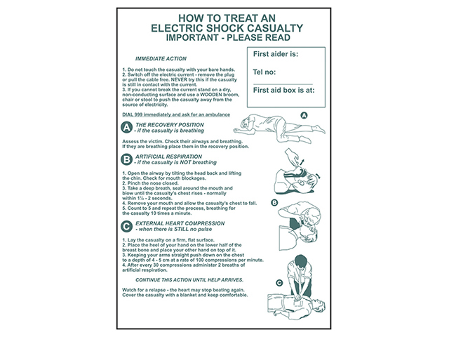 Scan How To Treat An Electric Shock Casualty - PVC 400 x 600mm SCA4240