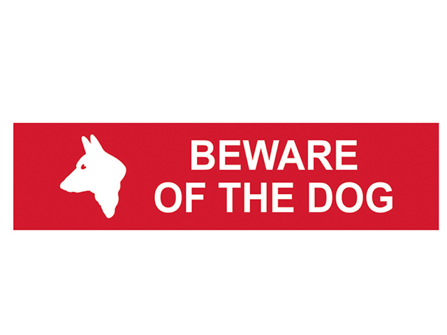 Scan Beware Of The Dog - PVC 200 x 50mm SCA5251