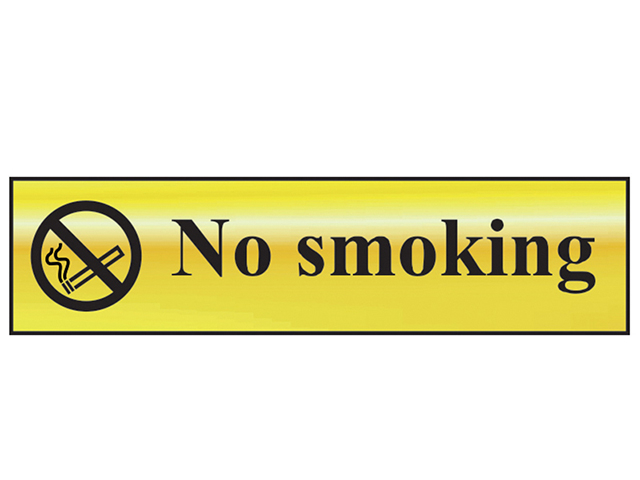 Scan No Smoking - Polished Brass Effect 200 x 50mm SCA6000