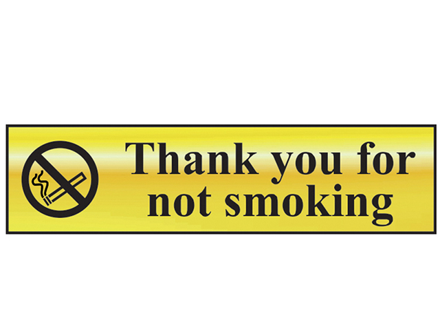 Scan Thank You For Not Smoking - Polished Brass Effect 200 x 50mm SCA6001