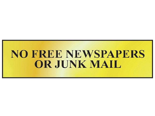 Scan No Free Newspapers Or Junk Mail - Polished Brass Effect 200 x 50mm SCA6023