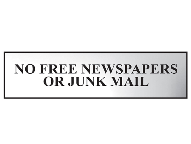 Scan No Free Newspapers Or Junk Mail - Polished Chrome Effect 200 x 50mm SCA6023C