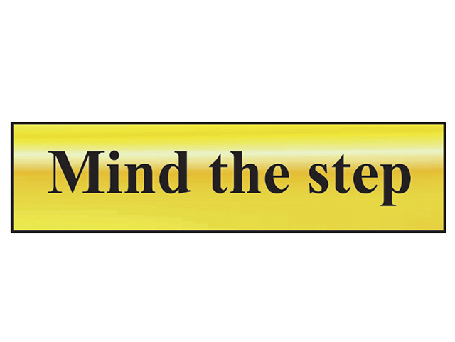 Scan Mind The Step - Polished Brass Effect 200 x 50mm SCA6029
