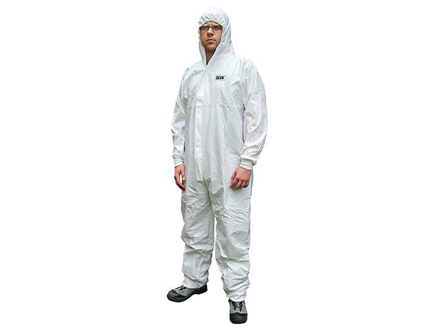Scan Chemical Splash Resistant Disposable Coverall White Type 5/6 M (36-39in) SCAWWDOM56