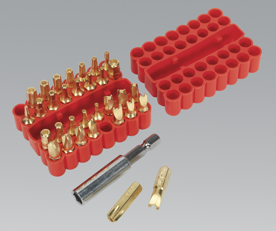 Sealey Security Bit & Magnetic Adaptor Set 33pc