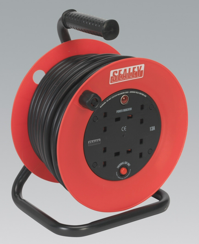 Sealey Cable Reel 25mtr 4 x 230V 2.5mm² Heavy-Duty Thermal Trip