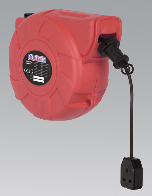 Sealey Cable Reel System Retractable 25mtr 1 x 230V Socket