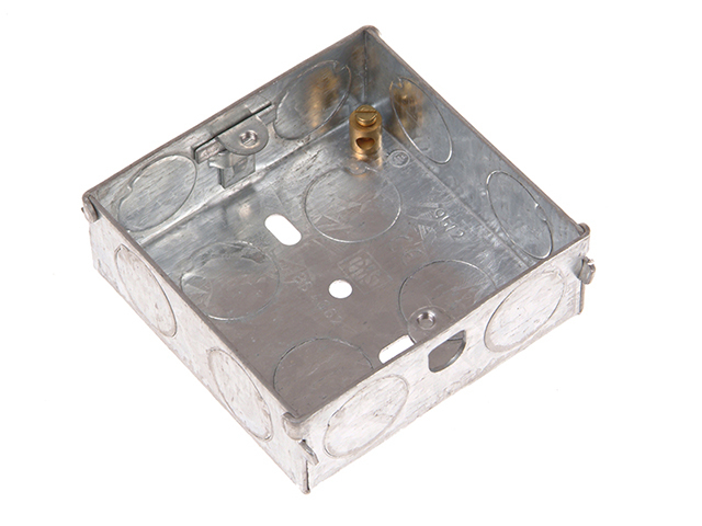 SMJ Metal Back Box 1 Gang 16mm Depth - Carded SMJMBS16C
