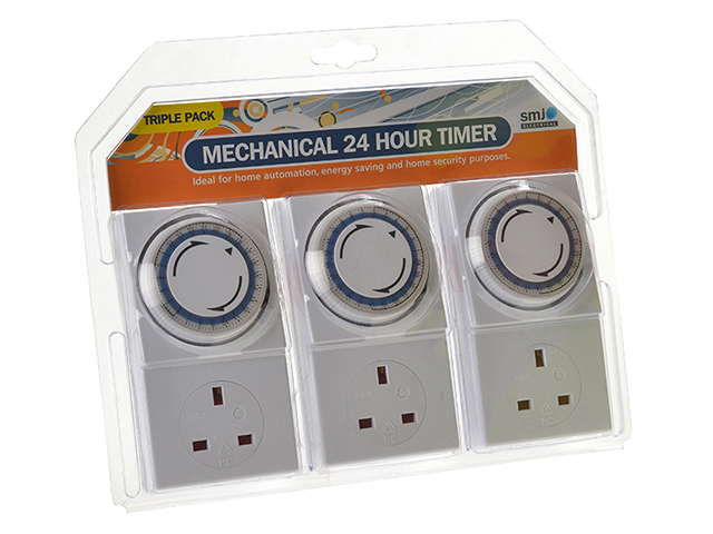 SMJ Basix 24h Mechanical Plug In Timer 3 Pack SMJMPIT3C